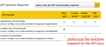 Select API functionality required