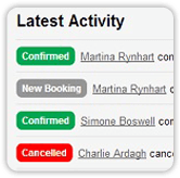 Latest activity screenshot of online booking dashboard