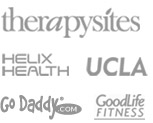 customer logos therapysites, helixhealth, ucla, godaddy, goodlifefitness