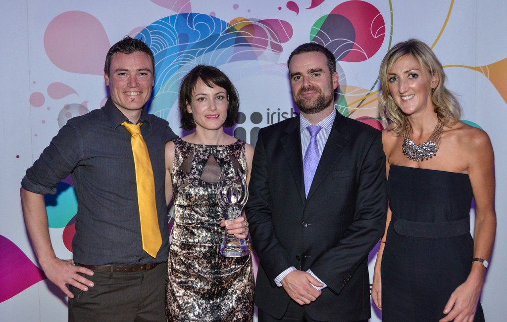 YellowSchedule - Winners of Most Indispensable Cloud Service for SMEs sponsored by Telecity Group. Michael Skelly, Martina Skelly (Yellow Schedule), Kevin Barry (Telecity Group) and JoanMulvihill (IIA)