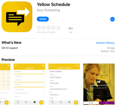 YellowSchedule on iPhone iPad appstore
