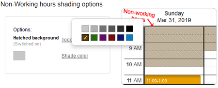 Shading of non-working times