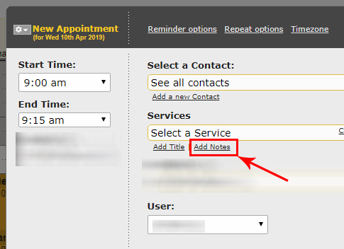 add notes to an appointment